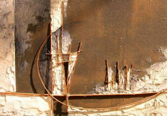 plâtre, joncs, acrylique