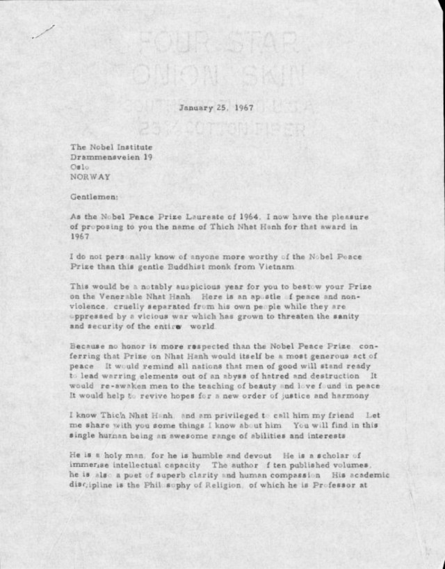Letter from Dr. Martin Luther King, Jr. nominating Thich Nhat Hanh