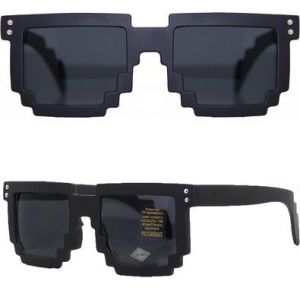 Rave Outfits for Guys MJ Boutique s 8 bit Matte Black Pixelated Sunglasses FREE POUCH