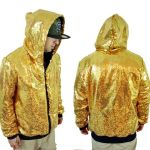 Men's Gold Sequin Hoodie Sweatshirt