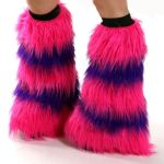 Pink and Purple Fluffy Leg Warmers