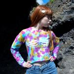Tie Dye Crop Top Skeleton Hands Long Sleeve