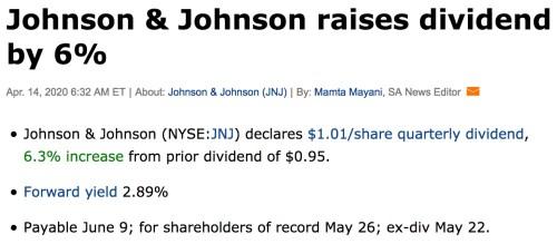 Johson et Johson hausse de dividende