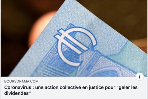 gel des dividendes actions françaises coronavirus