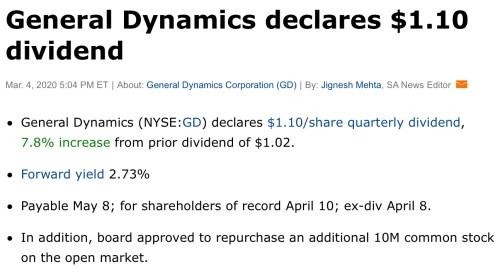 general dynamic dividend hike