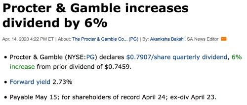 hausse de dividende procter and gamble