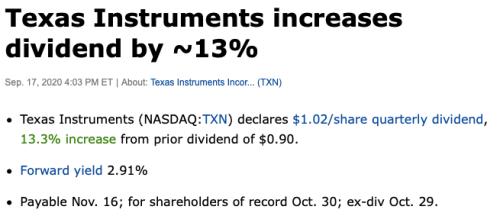 Texas instruments augmentation dividende