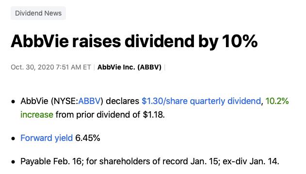 hausse dividendes Abbvie