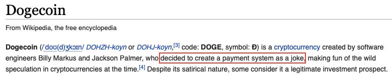 dogecoin wiki blague