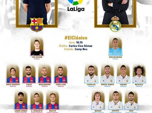 Formacionet zyrtare: Barcelona – Real Madrid