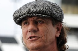 "Brian Johnson of AC DC and Fifty Plus Racing announce the ""Highway to Help"" campaign benefiting the Alzheimer's Association during the ""Roar before the Rolex"" at Daytona International Speedway on January 5, 2013 in Daytona Beach, Florida. (Photo Jeff Daly/Invision/AP)"