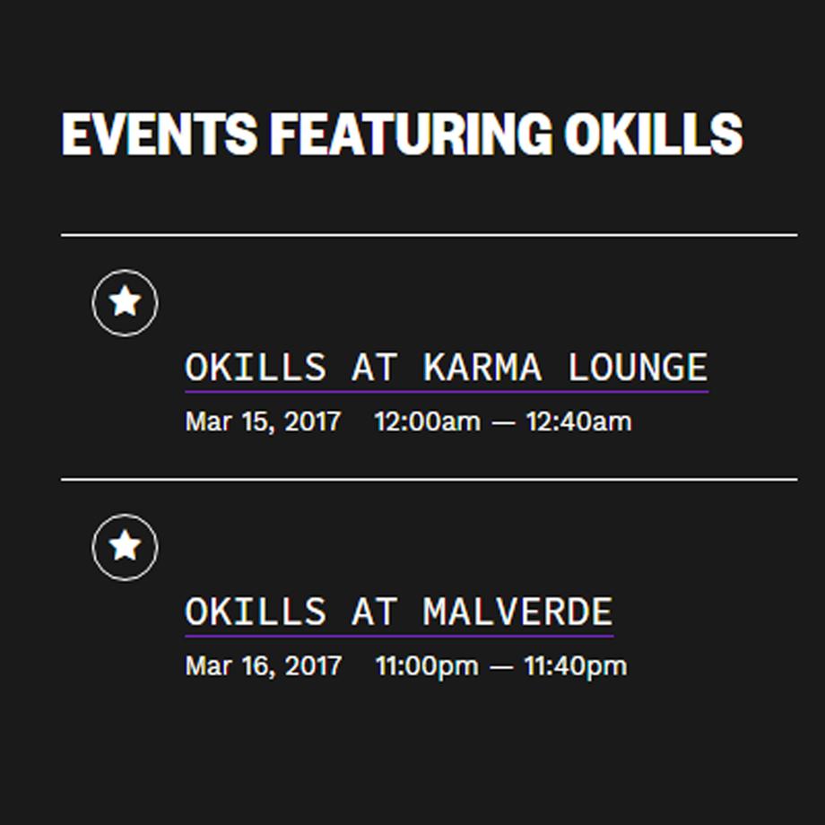 Okills dará dos shows el 15 y 16 de marzo. Cusica plus