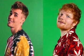 "Ed Sheeran y Justin Bieber juegan con la pantalla verde en el video de ""I Don't Care"". Cusica Plus."
