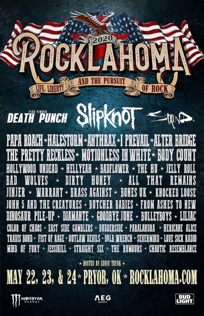 Rocklahoma Fest 2020, contará con Slipknot, Papa Roach y más. Cusica Plus.