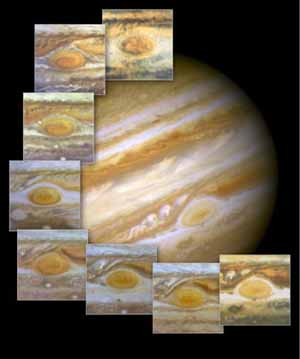 The red spot on the surface of Jupiter is a storm that has been raging for more than 300 years.  <br><font size=-1>Composite image courtesy of <a href=