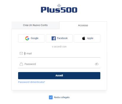 Apri il sito Web Plus500