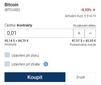 Nákup bitcoinů Plus500