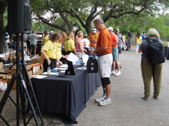 Golf tournament players registering April 28th morning