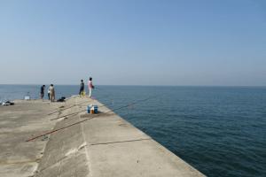 堤防の釣り人たち