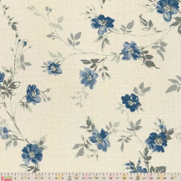 upholstery curtain fabric blue floral