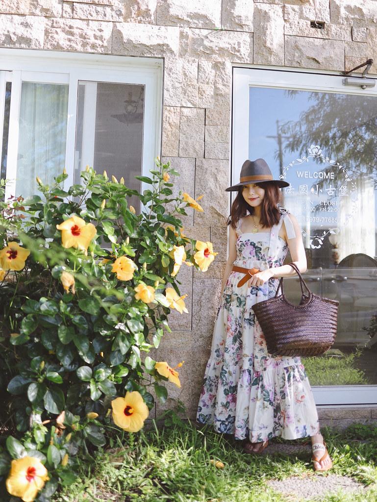 宜蘭法國小古堡民宿穿搭:Chicwish花洋裝、Dargon Diffusion真皮編織包