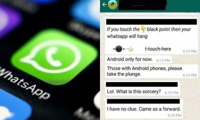 Do Not Touch THE BLACK SPOT YOUR PHONE will hang WhatsApp
