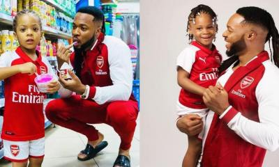 #FatherDaughterGoals: Flavour And Daughter Rock Arsenal Outfit To Celebrate Wenger