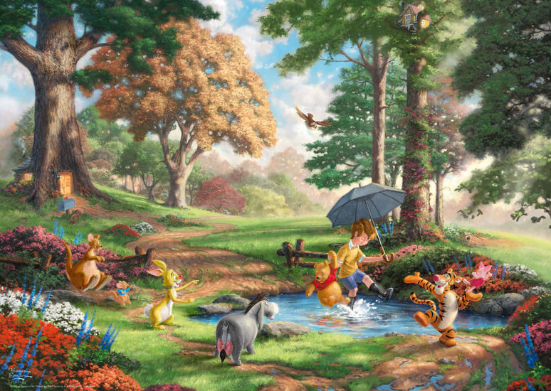 Disney 1000pc Winnie The Pooh Thomas Kinkade Puzzle