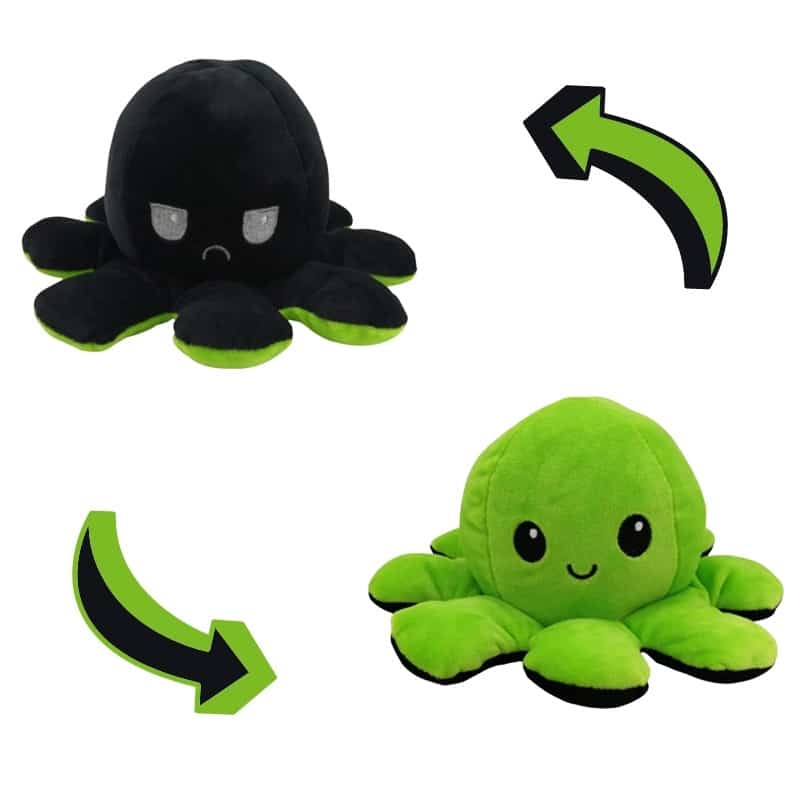 Double-Sided Black & Green Reversible Octopus Plush