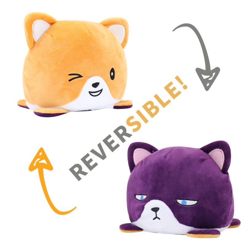 Orange & Purple Reversible Cat Plush Toy