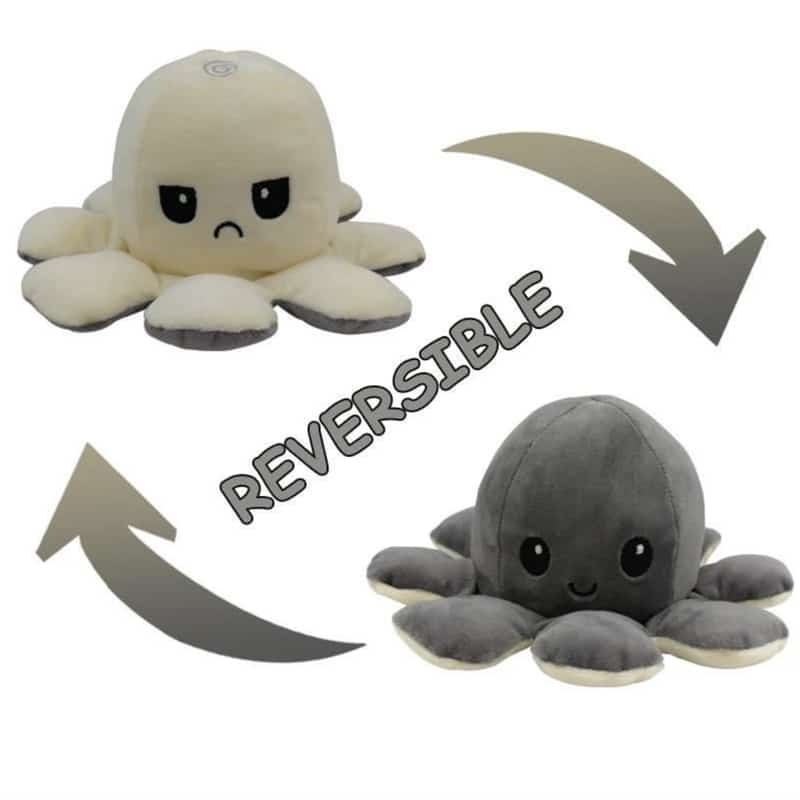 Reversible Mood Octopus White & Grey