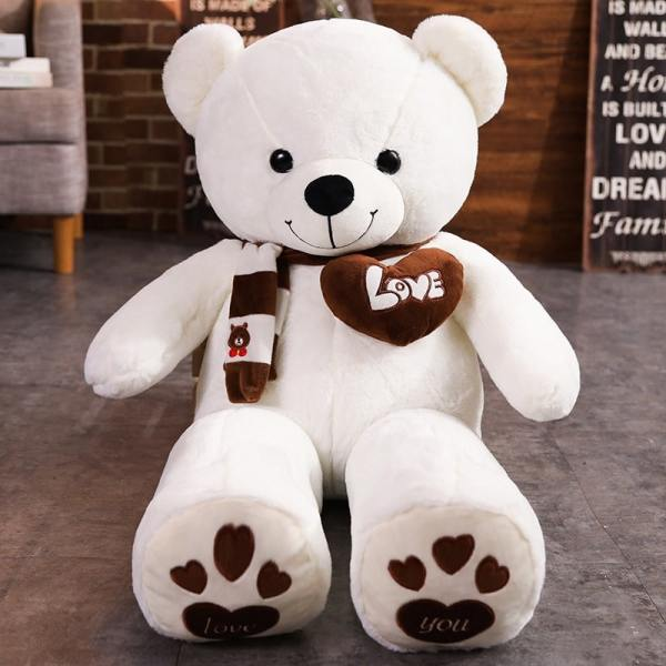 White Stuffed Teddy Bear Plush Toy - I Love You