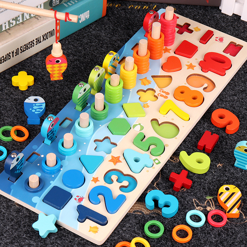 Montessori Wooden Numbers & Shapes Educational Puzzle