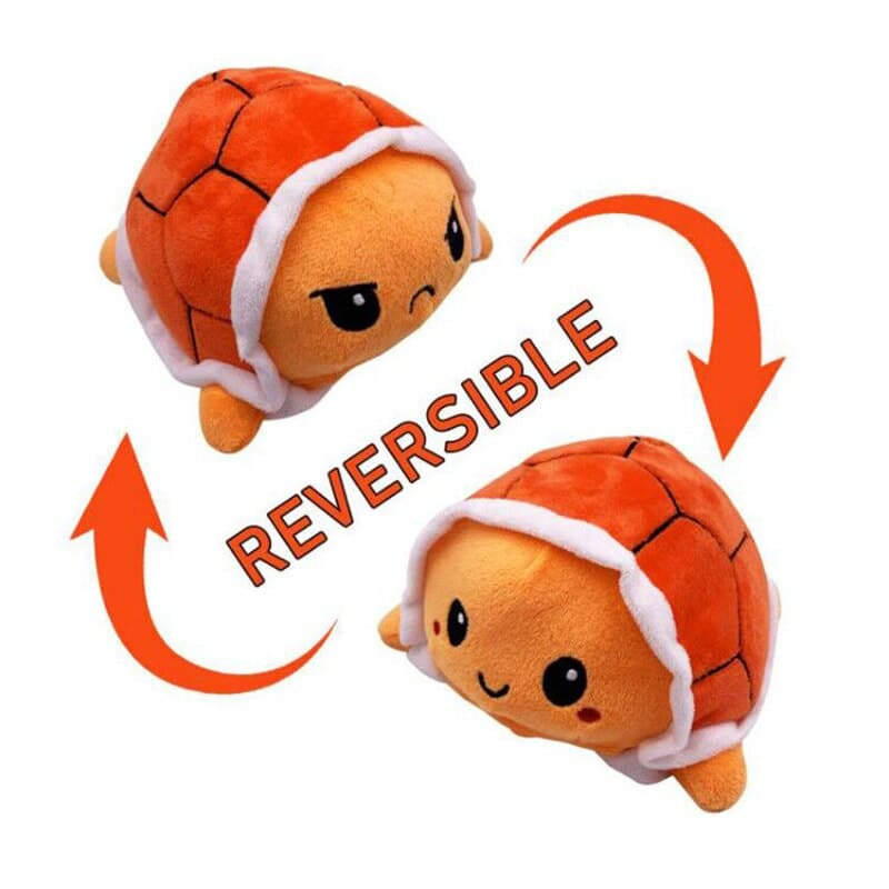 Reversible Mood Changing Brown Turtle Plush Toy