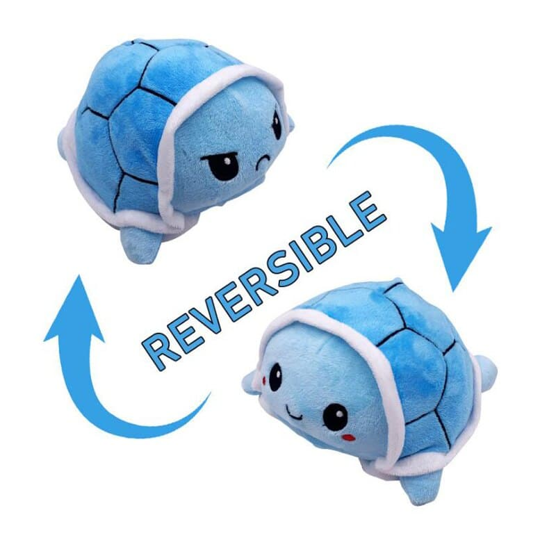 Reversible Mood Changing Blue Turtle Plush Toy