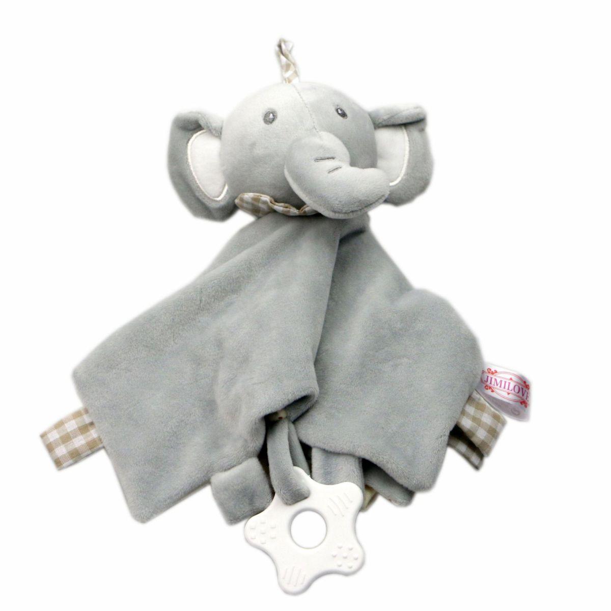 Baby Multifunctional Teether Comforting Towel Gray Elephant