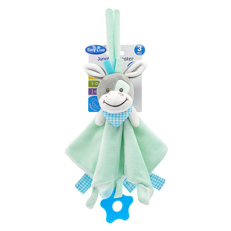 Baby Multifunctional Teether Comforting Towel Green Donkey