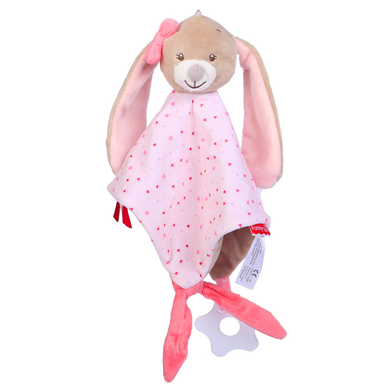 Baby Multifunctional Teether Comforting Towel Pink Dotted Bunny