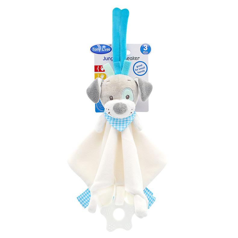 Baby Multifunctional Teether Comforting Towel White Dog