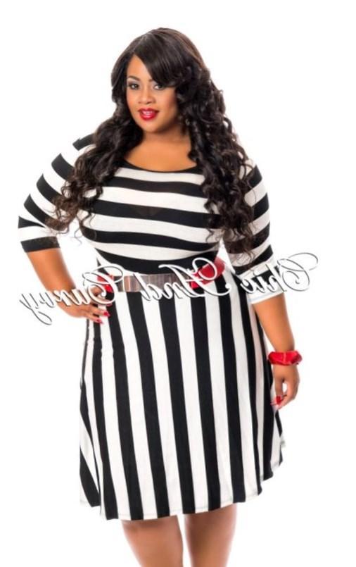 Plus Size Black And White Striped Dress PlusLookeu