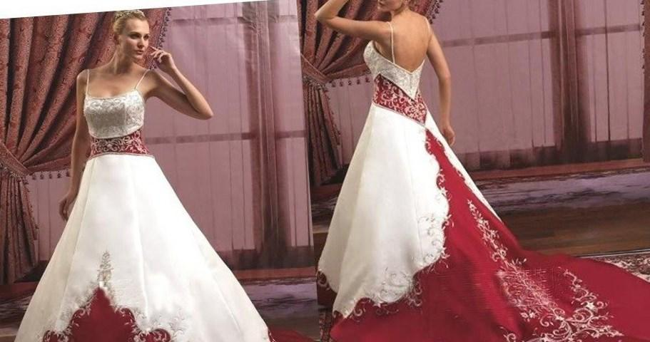 Red And White Plus Size Wedding Dresses