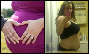 And here I was, 200lbs pre pregnancy thinking I would never have a bump! Boy did I ever have one! And a picture of me just under 4 months post-partum. Every stretch mark is a blessing! :)