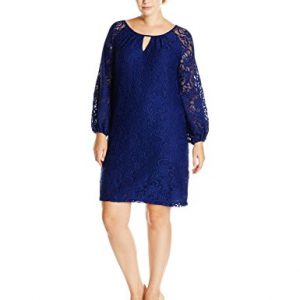 AGB-Womens-Plus-Size-Long-Sleeve-Scalloped-Lace-Dress-0