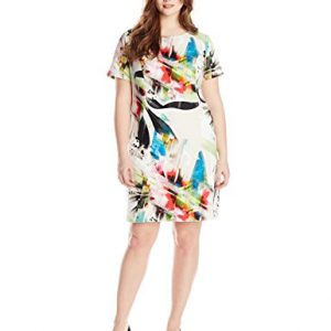 AGB-Womens-Plus-Size-Short-Sleeve-Brushstroke-Shift-Dress-with-Scoop-Neck-0