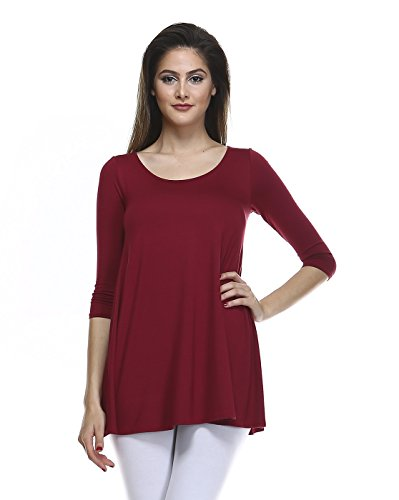 Tunic Top For Leggings For Women 3 4 Sleeve Swing Dress Top Made In USA – Small, Burgundy