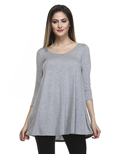 Tunic Top For Leggings For Women 3 4 Sleeve Swing Dress Top Made In USA – Small, Heather Charcoal