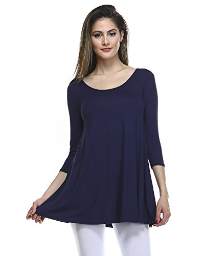 Tunic Top For Leggings For Women 3 4 Sleeve Swing Dress Top Made In USA – Small, Navy