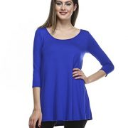 Tunic Top For Leggings For Women 3 4 Sleeve Swing Dress Top Made In USA – Small, Royal Blue