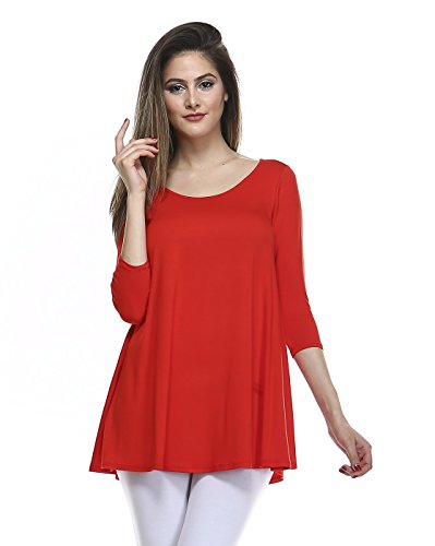 Tunic Top For Leggings For Women 3 4 Sleeve Swing Dress Top Made In USA – Small, Tomato Red