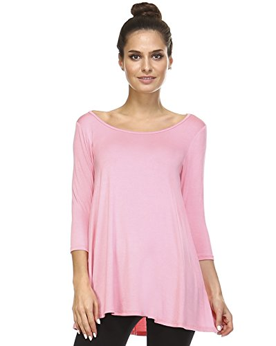 Tunic Top For Leggings For Women 3 4 Sleeve Swing Dress Top Made In USA – Small, Coral Pink